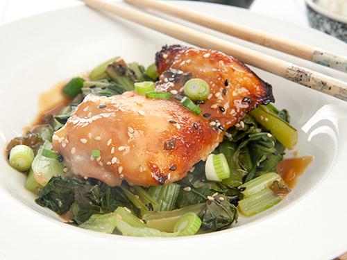 Miso Glazed Chicken w Asian Greens