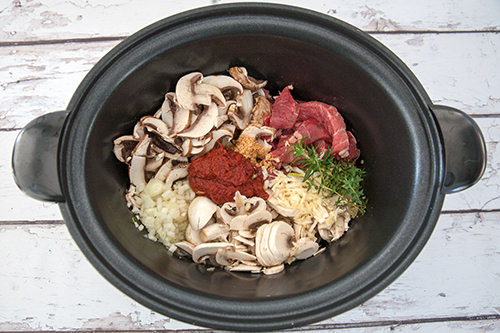 Ingredients for Slow Cooked Beef Stroganoff Recipe