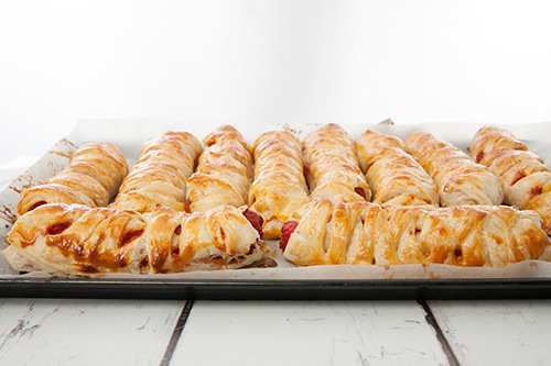 Pastry wrapped hotdogs