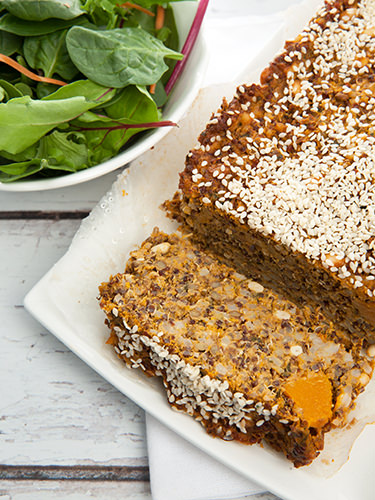 Close Up Pumpkin Lentil Loaf w Quinoa