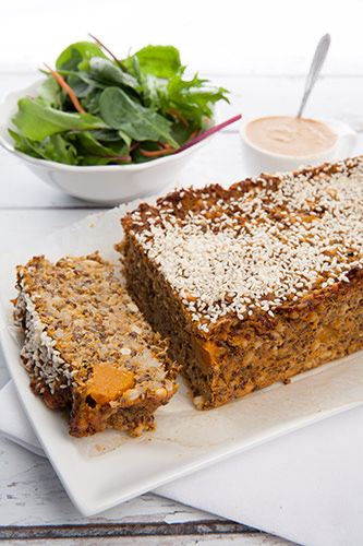 Vegetarian Lentil Loaf with Pumpkin and Quinoa