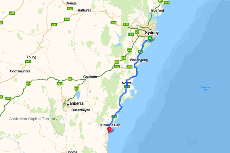 Map Sydney to Broulee via the Princes Highway