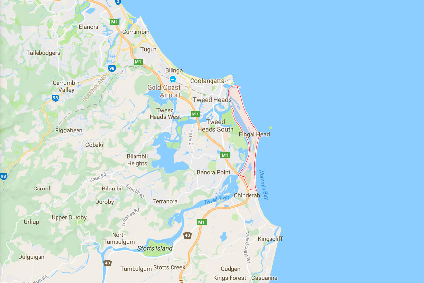 Map of Fingal Head New South Wales