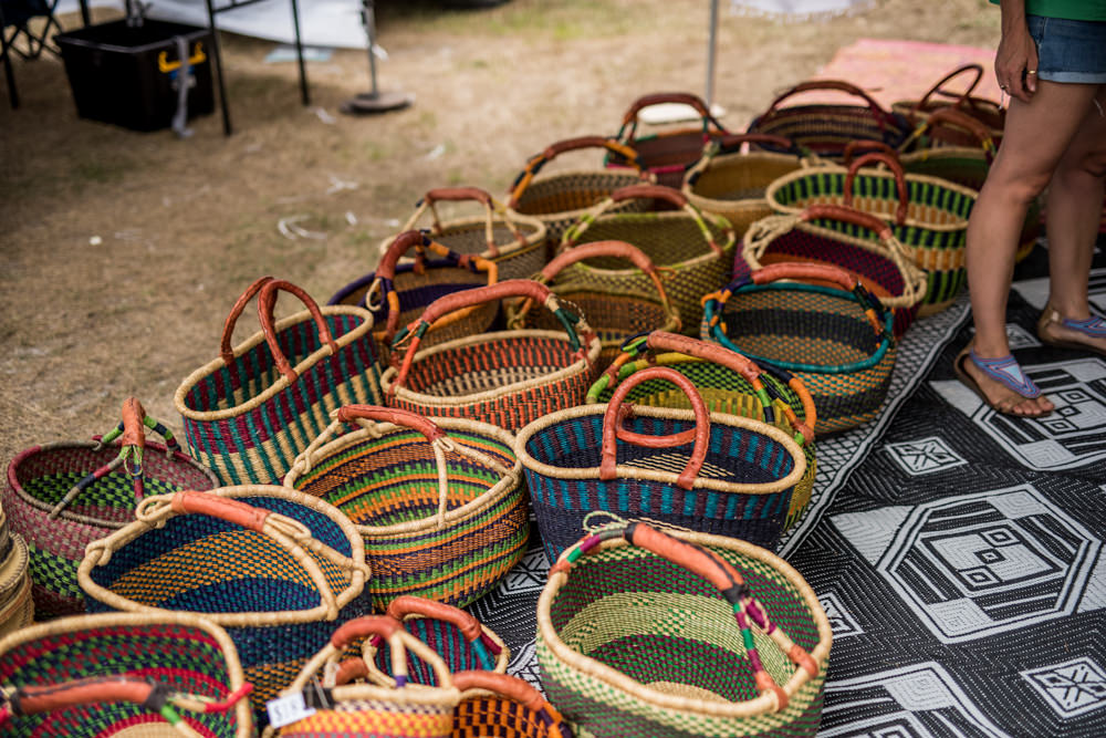hand made baskets at Pottsville Market