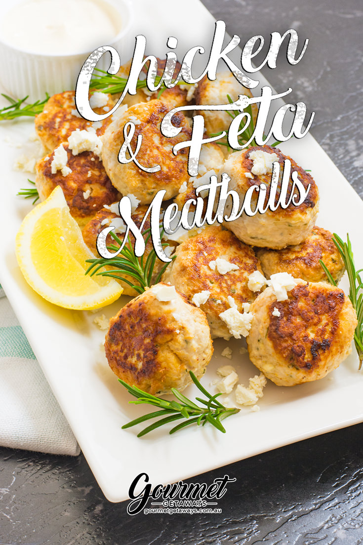 Chicken and Feta Meatballs with lemon