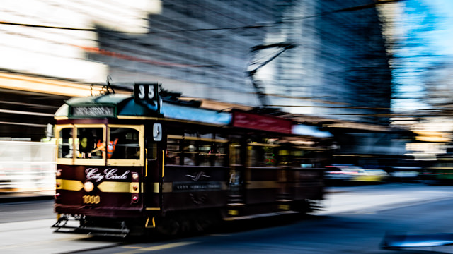 Melbourne Tram, Docklands motion photography