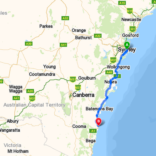 Map of driving directions Sydney to Narooma