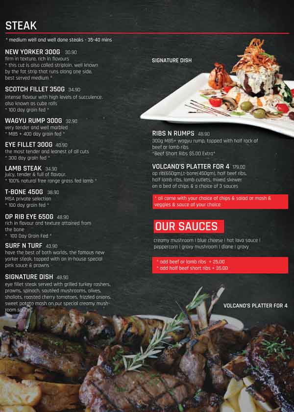 Volcanos Steakhouse Parramatta Menu