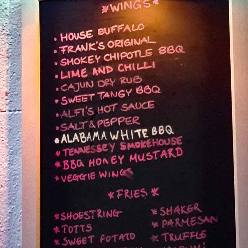 Wings and Tins Menu