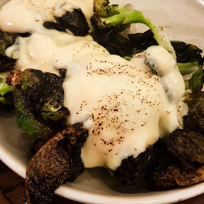 Meatmaiden Bar & Grill - Charred Greens & Brussels with parmesan custard